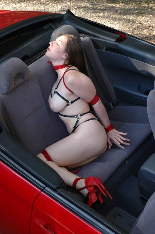 Image 2: Photos d une femme soumise et attachee a l arriere d une voiture