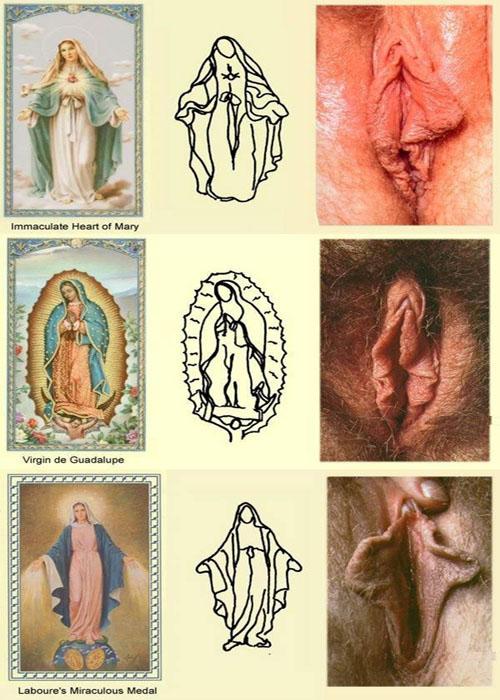 Image 1: Porno et religion Des sexes feminins qui ressemblent a la vierge