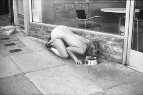Chienne soumise nue devant une boutique dans la rue