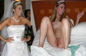 Photos de femme en robe de mariée et nue