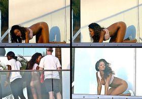 Rihanna montre son cul sur son balcon